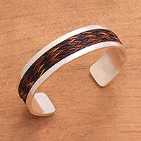 Pandan accent sterling silver cuff bracelet, 'Brown Dragon' - Pandan Accent Sterling Silver Cuff Bracelet from Bali
