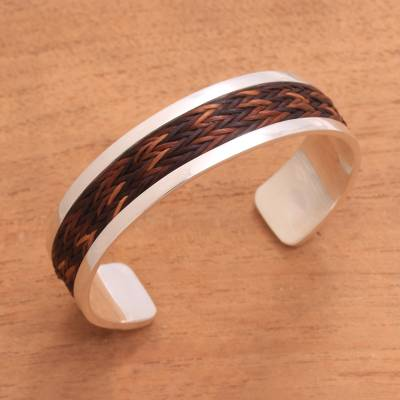 Natural fiber accented sterling silver cuff bracelet, 'Brown Dragon' - Pandan Accent Sterling Silver Cuff Bracelet from Bali