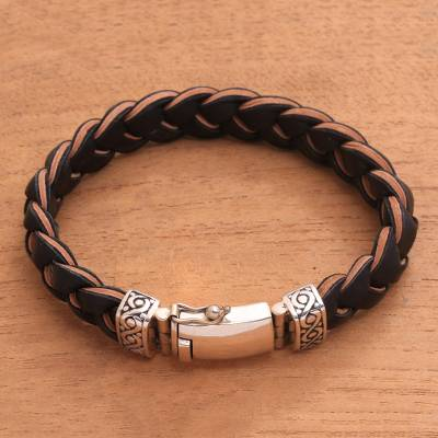 Men's leather braided wristband bracelet, 'Earth Braid' - Men's Leather and Sterling Silver Braided Bracelet