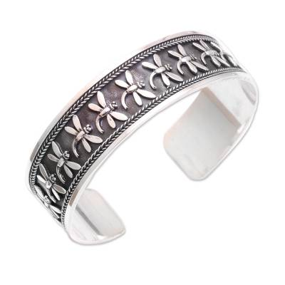 Handcrafted Sterling Silver Dragonfly Cuff Bracelet