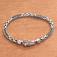 Sterling silver braided bracelet, 'Sleek Sheaves' - Handcrafted Sterling Silver Braided Link Chain Bracelet