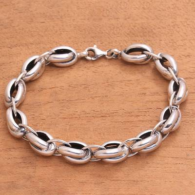 Sterling silver link bracelet, 'Chained Up' - Sterling Silver Link Bracelet Crafted in Bali
