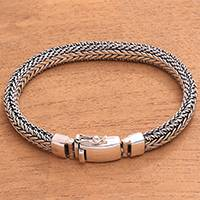Men's sterling silver chain bracelet, 'Sanca Soul' - Men's Sterling Silver Naga Chain Bracelet from Bali