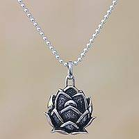 Sterling silver pendant necklace, 'Cute Lotus' - Lotus Flower Sterling Silver Pendant Necklace from Bali
