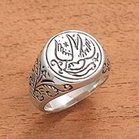 Sterling silver signet ring, 'Peace Bearer' - Peace Dove with Olive Branch Sterling Silver Signet Ring
