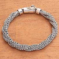 Sterling silver chain bracelet, 'Three Dragons' - Sterling Silver Triple Chain Bracelet from Bali