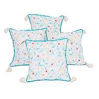 Cotton cushion covers, 'Floral Tales' (set of 4) - Floral Embroidered Cotton Cushion Covers (Set of 4)