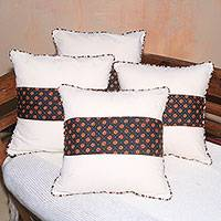 Cotton cushion covers, 'Starlight Horizon' (set of 4) - Star Motif Handwoven Cotton Cushion Covers (Set of 4)