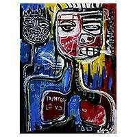 'Killing Me Softly' - Signed Cubist Painting of a Smoker from Java