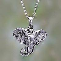 Peridot pendant necklace, 'Elephant Hat' - Peridot Elephant Pendant Necklace from Java