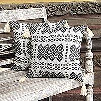Cotton cushion covers, 'Respati Pandu' (pair) - Ikat Cotton Cushion Covers in Smoke and Eggshell (Pair)