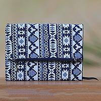 Cotton journal, 'Cool Thoughts' - Blue and Grey Geometric Cotton Journal with Flap Pocket
