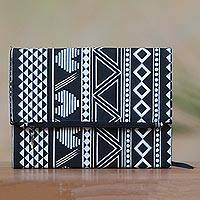Cotton journal, 'Treasured News' - Black and White Geometric and Heart Motif Cotton Journal