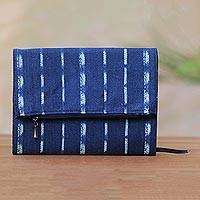 Cotton journal, 'Between the Lines' - Blue and Yellow Striped Cotton Journal with Flap Pocket