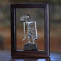 Iron and wood sculpture, 'Puntadewa the Wise' - Iron Sculpture of Puntadewa Framed in Suar Wood from Java