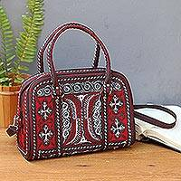 Cotton handbag, 'Banda Ruby' - Hand-Embroidered Cotton Handbag in Ruby and White from Bali