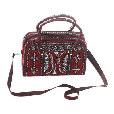 Hand-Embroidered Cotton Handbag in Ruby and White from Bali