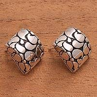 Sterling silver button earrings, 'Bali Paisley'
