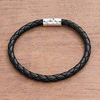 Leather braided bracelet, 'Soul Braid' - Unisex Leather Braided Bracelet from Bali