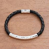 Sterling silver and leather braided pendant bracelet, 'Soul Gleam' - Sterling Silver and Leather Braided Pendant Bracelet