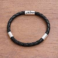 Leather and sterling silver braided bracelet, 'Soulful Trio' - Leather and Sterling Silver Braided Bracelet from Bali