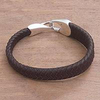 Leather braided wristband bracelet, 'Bold Claw in Brown'