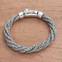 Sterling silver chain bracelet, 'Basuki Dragon'