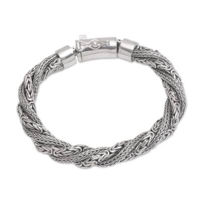 Sterling silver chain bracelet, 'Basuki Dragon' - Sterling Silver Borobudur and Naga Chain Bracelet from Bali