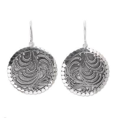 Sterling silver dangle earrings, 'Sun Empress' - Handcrafted Sterling Silver Dangle Earrings from Bali