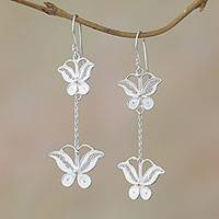 Sterling silver dangle earrings, 'Filigree Butterflies' - Sterling Silver Filigree Butterfly Elongated Dangle Earrings