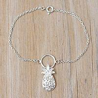 Sterling silver filigree pendant bracelet, 'Pretty Pineapple' - Sterling Silver Filigree Pineapple Pendant Bracelet