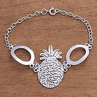 Sterling silver filigree pendant bracelet, 'Pineapple Delight' - Handcrafted Sterling Silver Pineapple Station Bracelet