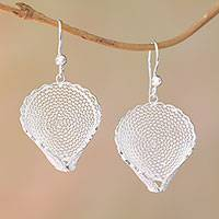 Sterling silver filigree dangle earrings, 'Lumbu Leaf' - Sterling Silver Filigree Palm Leaf Dangle Earrings