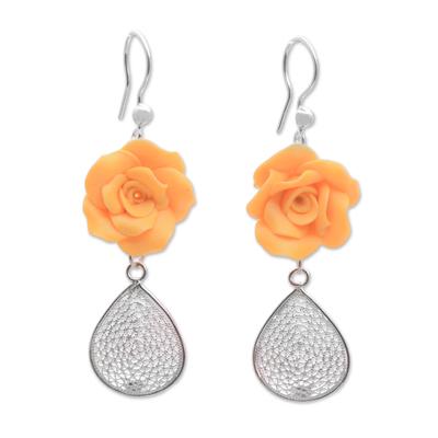 Yellow and Orange Flower Dangle Earrings Handmade Polymer Clay Earrings Tropical Floral Dangle Earrings Statement Earrings