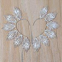 Sterling silver filigree ear cuffs, 'Festival Leaf' - Handcrafted Sterling Silver Filigree Ear Wrap Cuffs