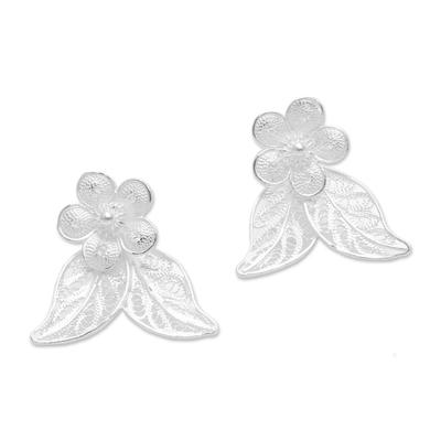 Sterling Silver Filigree Floral Leaves Drop Earrings
