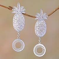 Sterling silver filigree dangle earrings, 'Java Pineapple' - Sterling Silver Filigree Pineapple Dangle Earrings