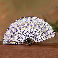 Leather and buffalo horn fan, 'Rama Arch in Purple' - White and Purple Rama Leather and Buffalo Horn Fan
