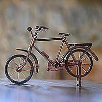 Mahogany wood miniature, 'Pit Kebo Bicycle' (Large) - Handcrafted Recycled Mahogany Wood Bicycle Miniature (Large)