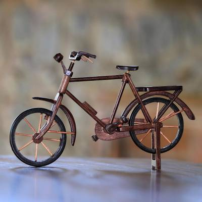 Reclaimed mahogany wood miniature bicycle, 'Pit Kebo Bicycle' (13.5 inch) - Reclaimed Mahogany Wood Bicycle Miniature (13.5 in.)