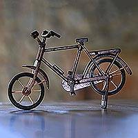 Mahogany wood miniature, 'Pit Kebo Bicycle' (Small) - Handcrafted Recycled Mahogany Wood Bicycle Miniature (Small)