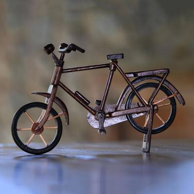 Reclaimed mahogany wood miniature bicycle, Pit Kebo Bicycle (10 inch)