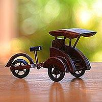 Mahogany wood miniature, 'Pedicab' - Handcrafted Recycled Mahogany Wood Pedicab Miniature