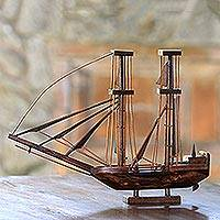 Mahogany wood miniature, 'Pinisi' - Handcrafted Recycled Mahogany Wood Two-Masted Ship Miniature