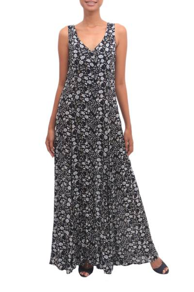Floral Printed Rayon A-Line Dress from Bali