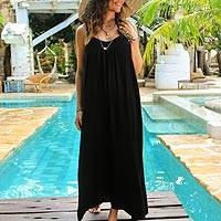 Rayon maxi sundress, 'Black Intrigue' - Rayon Maxi Sundress in Solid Black from Bali