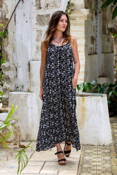 Rayon maxi sundress, 'Venus Flowers' - Floral Printed Rayon Maxi Sundress from Bali