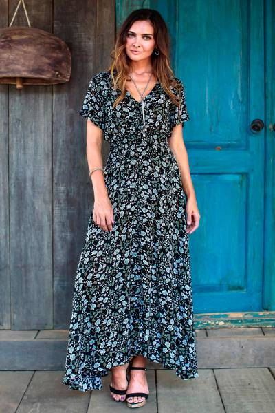 Rayon dress, 'Bali Garden' - Short Sleeve White and Olive Floral on Black Rayon Dress