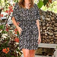 Rayon tunic-style dress, 'Venus Flowers' - Floral Printed Rayon Tunic-Style Dress from Bali