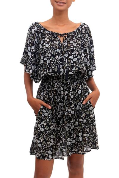 Floral Printed Rayon Tunic-Style Dress from Bali